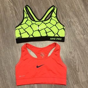 2 Colorful Neon Nike Swoosh Sports Bras